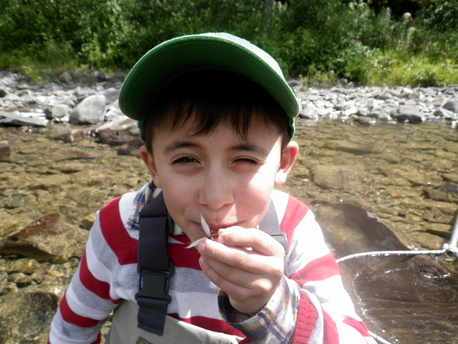 Salmon Fishing Report and With his favourite Fly, a dark brown Bomber, he's keeping this one as a souvenir!