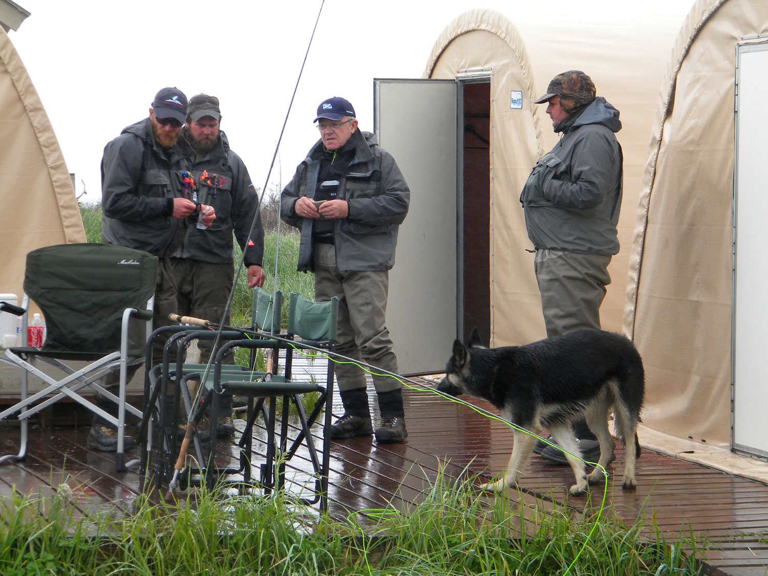 Customers dressed in layered clothing, not everyone wearing Simms jackets, in our view the best wading jackets in the world