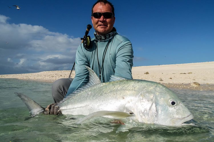 Amazing fly fishing for GT'S on farquhar seychelles