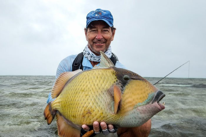 A customer holding a majestic triggerfish from this weeks Farquhar fishing report