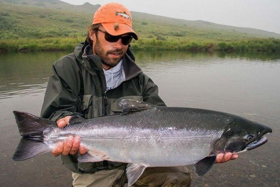 fly fishing for salmon Goodnews River Alaska