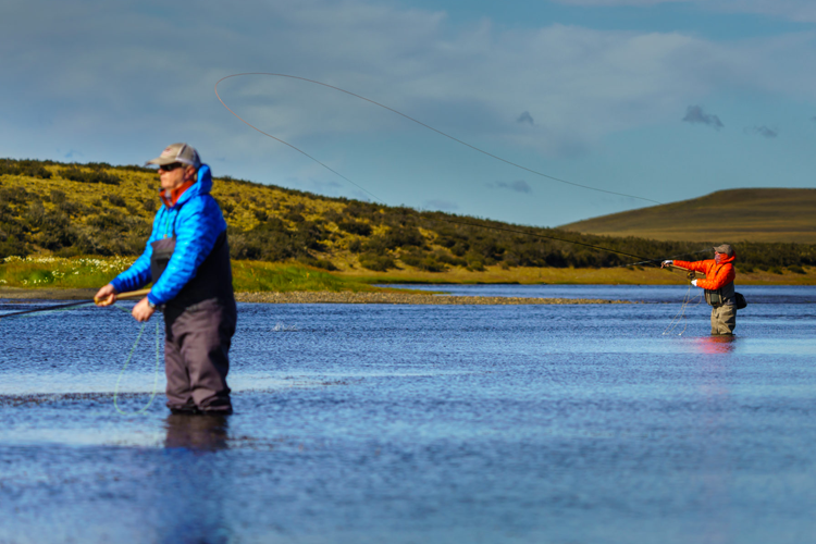 Two anglers wading