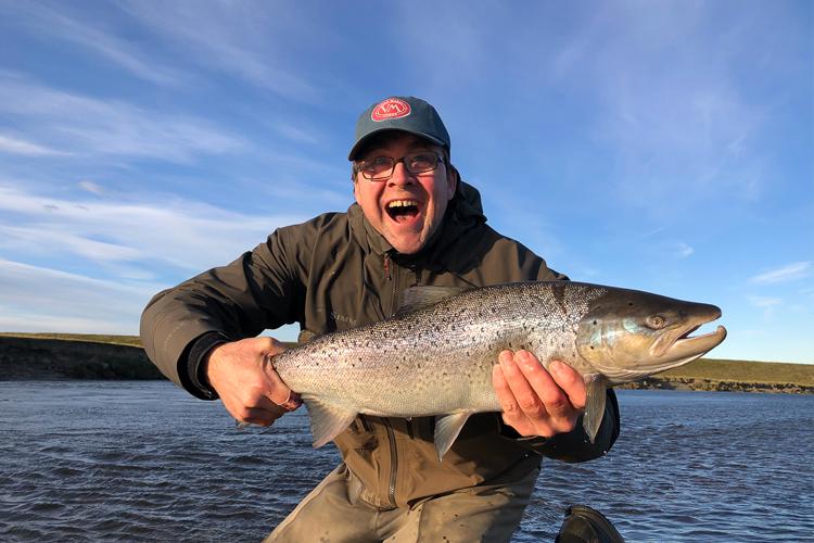 A spotty sea run trout