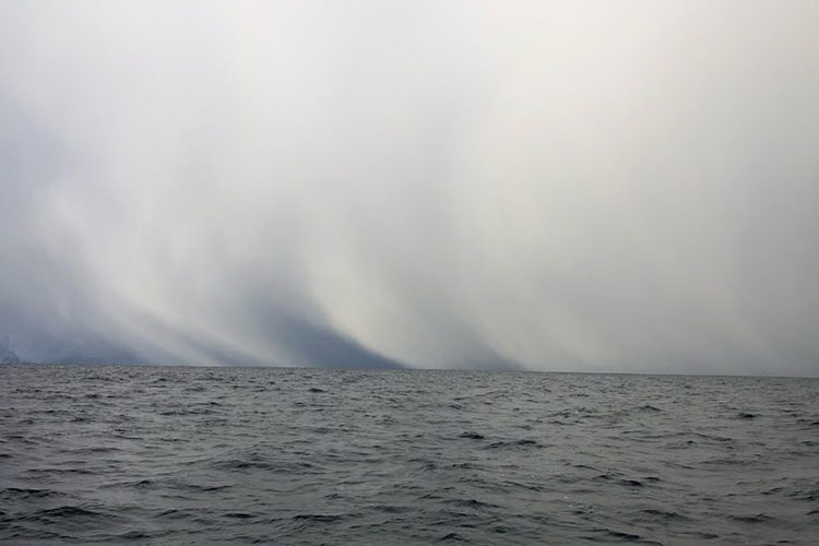 A large storm in the distance