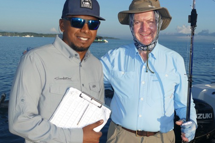 A customer and guide before a days fishing