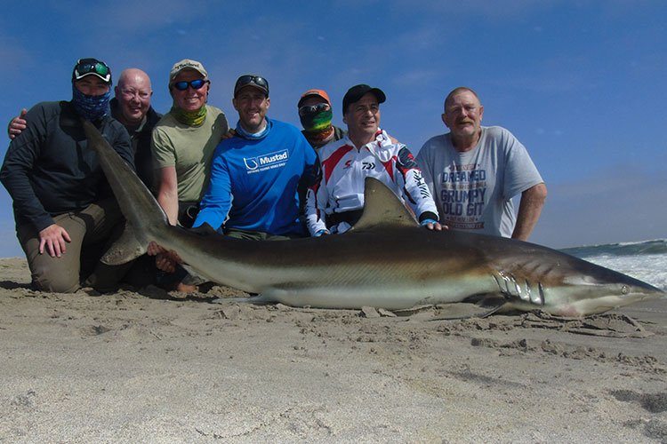 The whole team posing with a shark