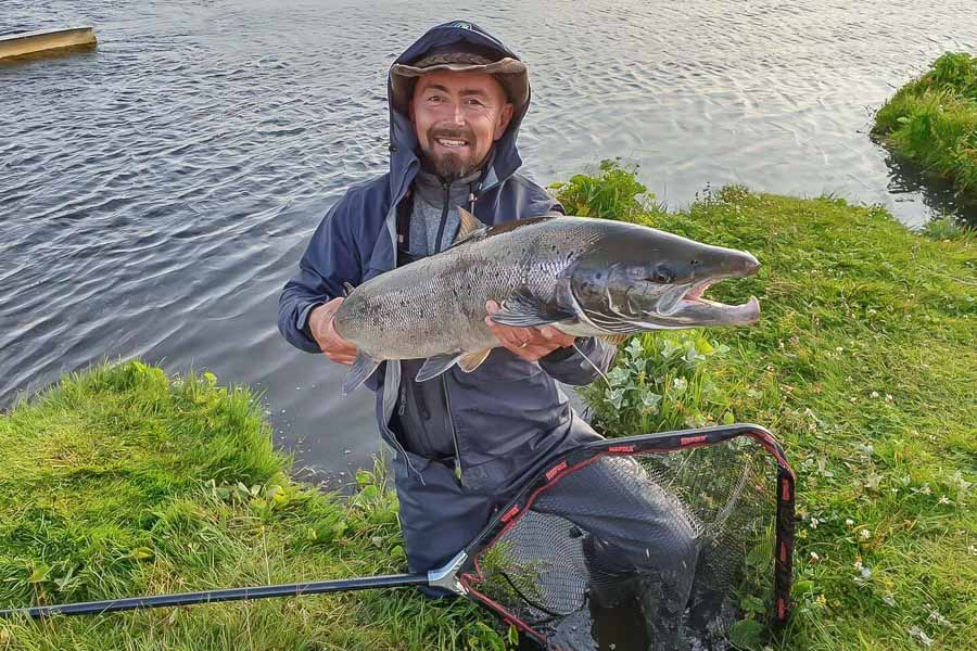 huge silver atlantic salmon caught in iceland