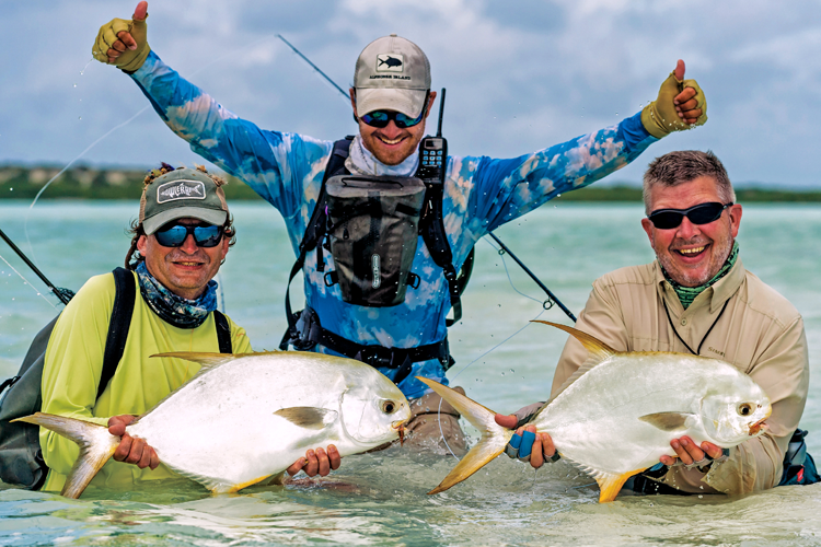 flats fishing guide with anglers