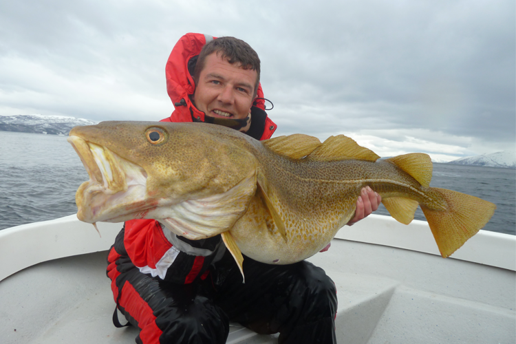 happy angler with a huge cod
